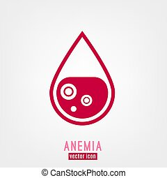 Anemia and Hemophilia icon. Drop of blood with blood cells ...