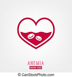 Anemia and Hemophilia icon. Heart shape with blood cells ...