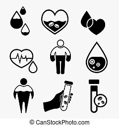 Anemia and Hemophilia icons set in black color. Heart shape...