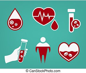 Anemia and Hemophilia icons set in red and white color. ...