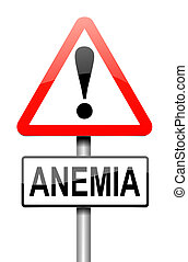 Anemia concept. - Illustration depicting a sign with an...