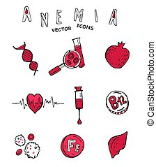 Anemia doodle icons - Creative anemia icons in doodle style...