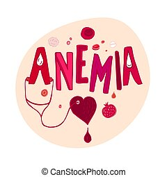 Anemia doodles background - Creative anemia background with ...