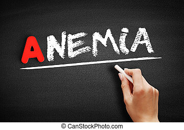 Anemia text on blackboard, concept background