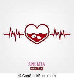 Anemia Vector Icon - Anemia and Hemophilia icon. Heart shape...
