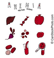 Anemia vector icons - Creative anemia icons in doodle style...