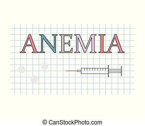 anemia word on checkered paper sheet- vector illustration