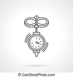 Anemometer flat thin line vector icon - Wind speed measuring...