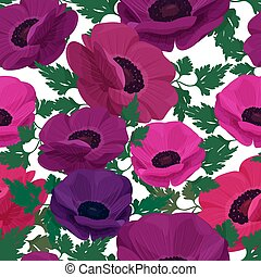 Anemone flower background. Seamless vector pattern with colorful flowers.