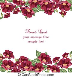 Anemone flowers Card. Vector Red flower Spring Summer...