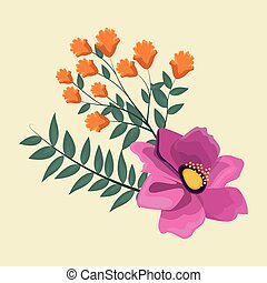 anemone flowers leaves decoration image