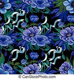 Anemone seamless pattern
