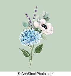 anemoner, bakgrund., vacker, blommig, vektor, vattenfärg, ...