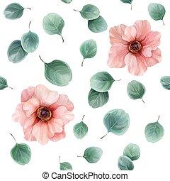 anemoner, eukalyptus, mønster, blade, seamless, blomstrede