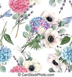 anemoner, violett, bakgrund., vacker, blommig, vattenfärg, ...