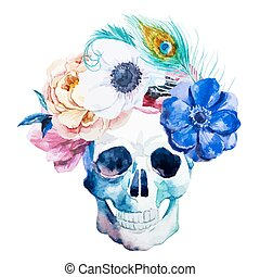 Anemones and scull - Beautiful vector illustration with nice...