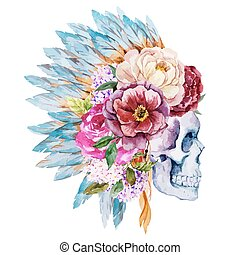 Anemones and skull - Beautiful vector illustration with nice...