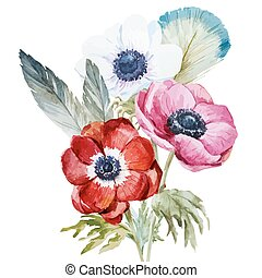 Anemones - Beautiful vector illustration with nice...