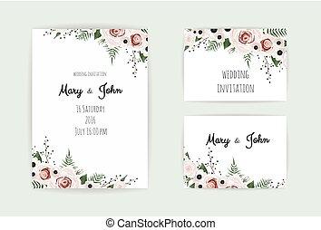anemones, groen, bloem, tuin, perzik roos, eucalyptus, floral, invitation., vector, ontwerp, trouwfeest, teder, flora, kaart, roze