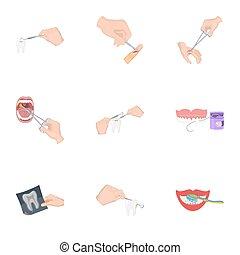 anestésico, tela, conjunto, iconos, collection., herida,...