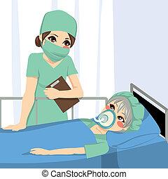 anestesista, enfermera, y, paciente