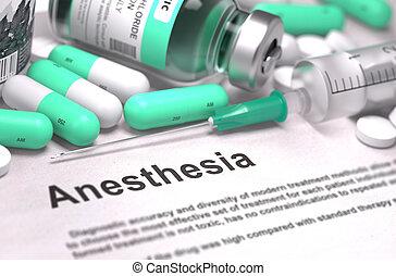 anesthesia., 醫學的概念, 由于, 被模糊不清, 背景。