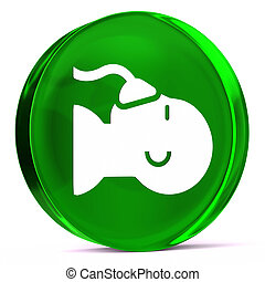 Anesthesia - Round glass icon with white health care sign or...