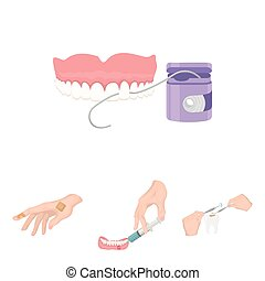 Anesthetic injection, dental instrument, hand manipulation, tooth cleaning and other web icon in cartoon style.bactericidal plaster, medicine icons in set collection.
