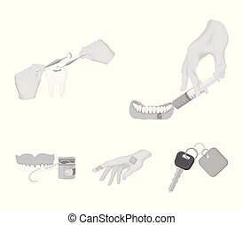 Anesthetic injection, dental instrument, hand manipulation, tooth cleaning and other web icon in monochrome style.bactericidal plaster, medicine icons in set collection.
