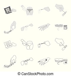 Anesthetic injection, dental instrument, hand manipulation, tooth cleaning and other web icon in outline,monochrome style.bactericidal plaster, medicine icons in set collection.