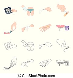 Anesthetic injection, dental instrument, hand manipulation, tooth cleaning and other web icon in cartoon,outline style.bactericidal plaster, medicine icons in set collection.