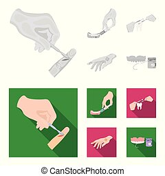 Anesthetic injection, dental instrument, hand manipulation, tooth cleaning and other web icon in monochrome,flat style.bactericidal plaster, medicine icons in set collection.