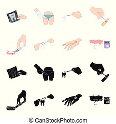 Anesthetic injection, dental instrument, hand manipulation, tooth cleaning and other web icon in black,cartoon style.bactericidal plaster, medicine icons in set collection.