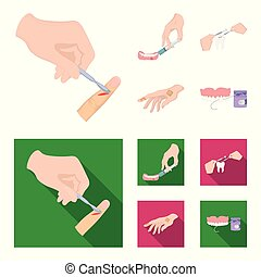 Anesthetic injection, dental instrument, hand manipulation, tooth cleaning and other web icon in cartoon,flat style.bactericidal plaster, medicine icons in set collection.