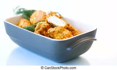 aneth, poulet, frit, pâte