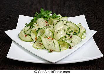aneth, salade, concombres, frais, épices, ail