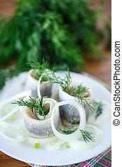 aneto, anelli, aringa, salato, cipolla