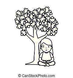 anexado, menina, árvore, quebra-cabeça