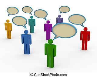 anförande, 3, bubbla, folk