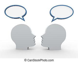 anförande, 3, bubbla, huvuden