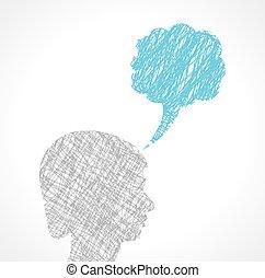 anförande, abstrakt, manlig, bubbla