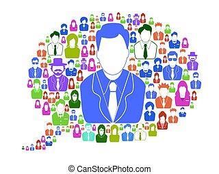 anförande, bubbla, affär, folk