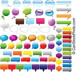 anförande, bubblar, sätta