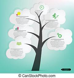 anförande, bubblar, träd, vit