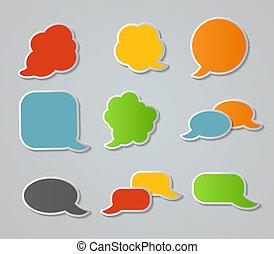 anförande, bubblar, vektor, klistermärken, illustration