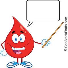 anförande, droppe, bubbla, blod, röd