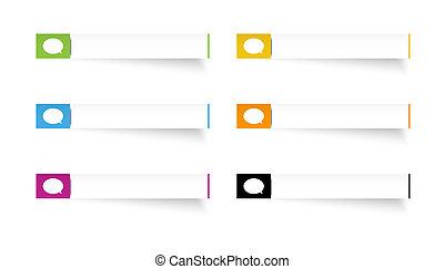 anförande, etiketter, bubbla, rektangel, ikon