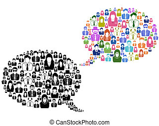 anförande, folk, bubbla, ikonen