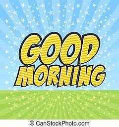 anförande, komiker, bra, bubbla, morgon