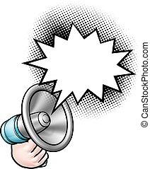 anförande, komiker, megafon, bubbla, bok